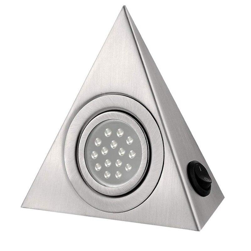 Lo más nuevo LED armario lámpara cocina bajo gabinete iluminación triángulo Led Luz de acero inoxidable Downlight para armario 5 uds 4mm/0,16