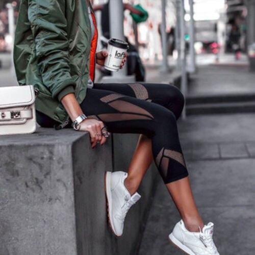 New Fashion Women High Waist Soft   Leggings   Running Loose Slim Stretch 3/4 Pants Retro Hot