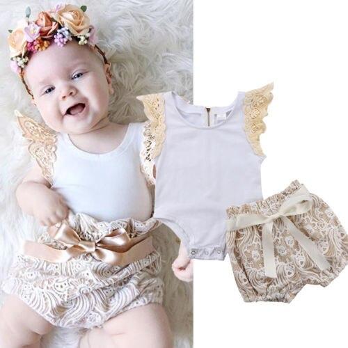 Emmababy Da Criança Recém-nascidos Do Bebê Menina Macacão Calça de Renda Calções 2 pcs Outfits Set Casual Puff Luva Roupas de Algodão Floral