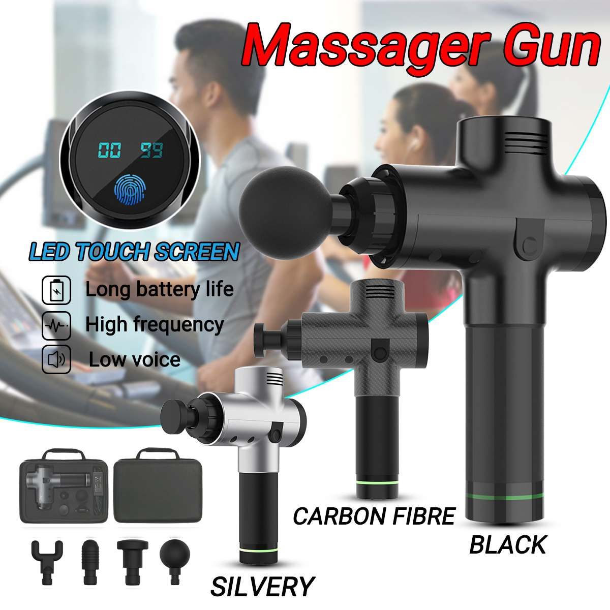 6 Files Electronic Therapy Body Massage for Gun Low Noise LED 3600r Massage Guns Body Muscles Relaxing Relief Pains With 4 heads6 Files Electronic Therapy Body Massage for Gun Low Noise LED 3600r Massage Guns Body Muscles Relaxing Relief Pains With 4 heads