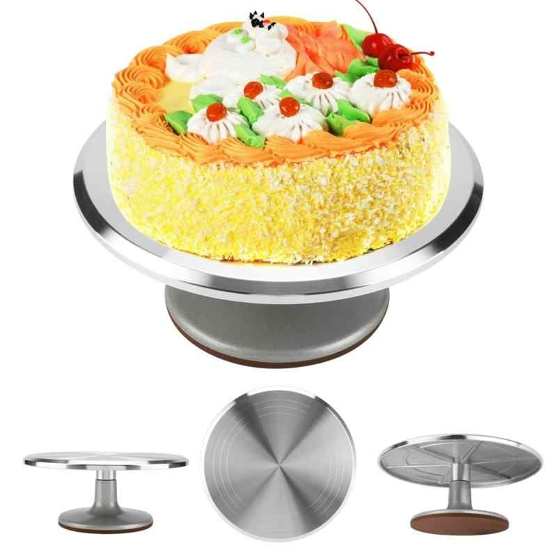 DIY Pan Baking Tool Aluminum Cake Plate Turntable Rotating Anti-skid Round Cake Stand Cake Decorating Rotary Table Kitchen