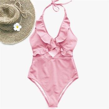 Ruffle Swimsuit Women Backless Swimwear Women One Piece Swimsuit Padded Bathing Suit Ladies Beachwear Monokini Maillot De Bain 3