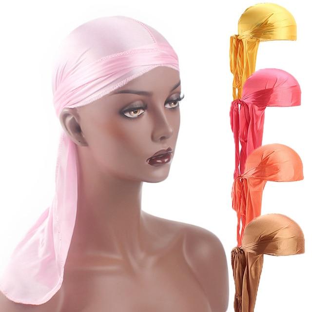 2019 New Unisex Long Silk Satin Breathable Turban Hat Wigs Doo Durag Biker Headwrap Chemo Cap Pirate Hat Men Hair Accessories 2