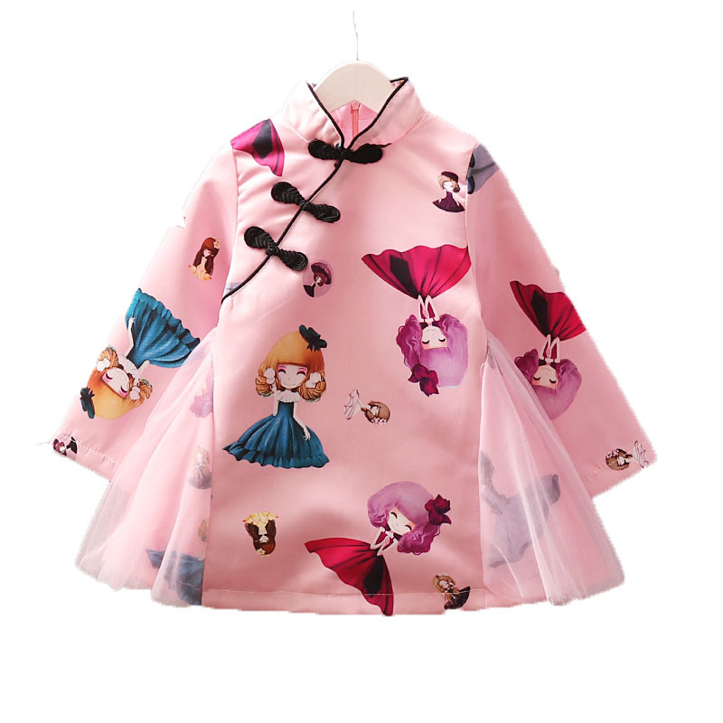 2020 Girls Dress Winter Kids Dresses For Girl Chinese Style Elegant Baby Clothes New Year Tutu Cartoon Printed Qipao Vestidos