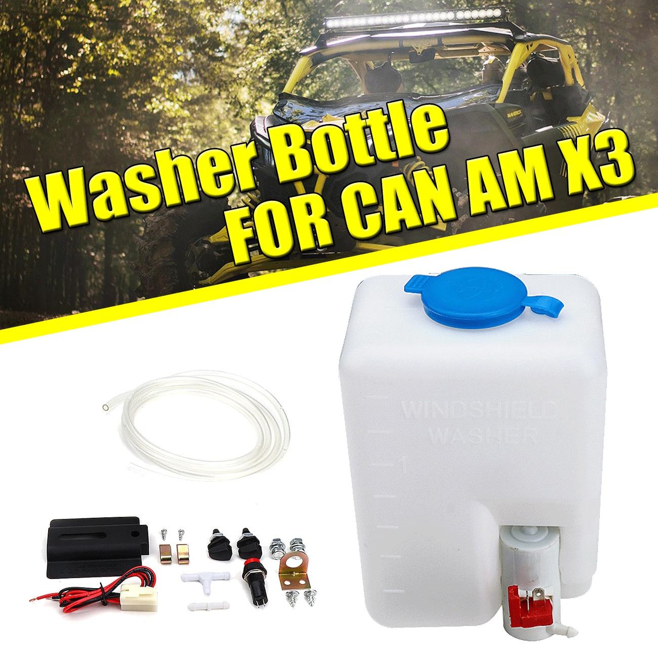 12V UTV Windshield Washer Bottle Tank Pump Wiper Kit Universal For Can Am Maverick X3 MAX R Turbo 4X4 2017-2019 2018