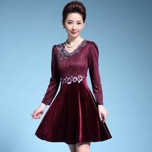 Женское винтажное мини платье с цветочной вышивкой и длинным