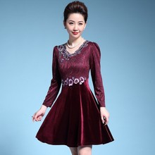 Vintage Long Sleeve Spring Autumn Women Floral Embroidery Mini Dress Elegant Casual O-neck Party Vestidos Dresses Robe Plus Size 2019 women spring summer vintage floral print dress elegant o neck long sleeve mini party dresses vestidos plus size 5xl