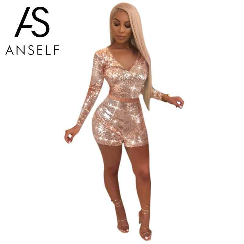 87acfe7c7907 ... Women Sequined Two Piece Set Crop Top V Neck Long Sleeve Shorts Club  Party Suits High Street 2 Piece Outfit Pink/Black on Aliexpress.com |  alibaba group