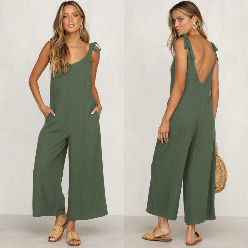 Backless Playsuit Overalls Trousers Rompers Linen Loose Casual Summer Sleeveless Women