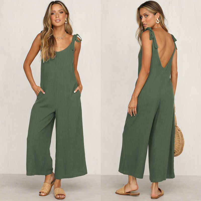Rompers 2019 summer new women 캐주얼 루스 리넨 코튼 점프 슈트 민소매 백 레이스 playsuit trousers overalls