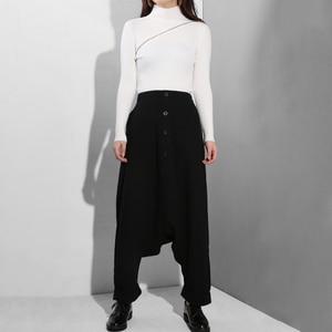 Image 5 - [EAM] 2020 New Spring Autumn High Elastic Waist Black Button Split Joint Thin Loose Cross pants Women Trousers Fashion Tide YG25