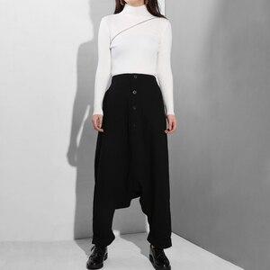 Image 5 - EAM Pantalones cruzados para mujer, pantalón negro, con cintura alta elástica, con botones divididos, finos, modernos, YG25, primavera y otoño, 2020