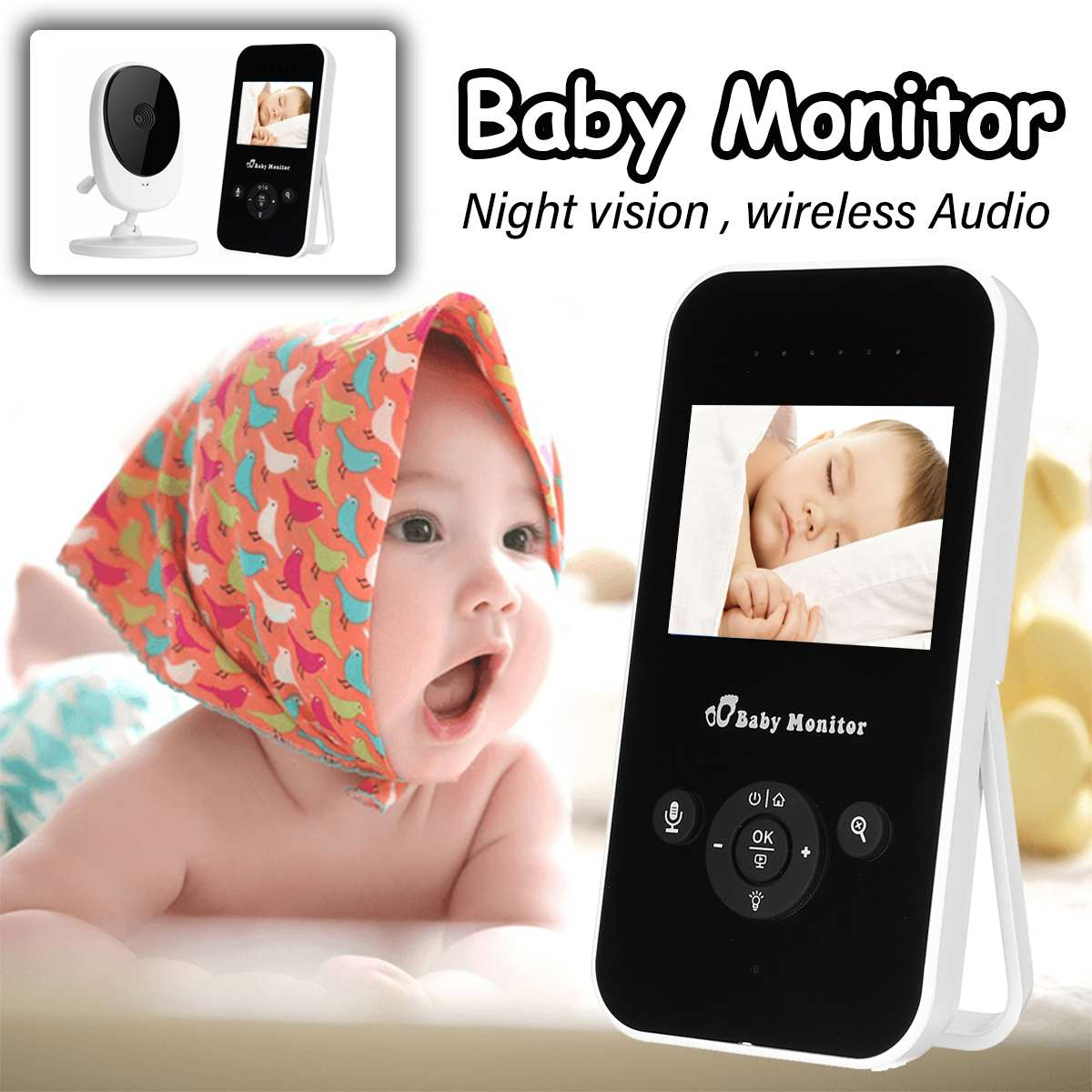 2.4'' Wireless Baby Monitor 2.4G HD LCD Video Color Nanny Home Security Camera Night Vision 2 Way Talk Temperature Monitoring цена