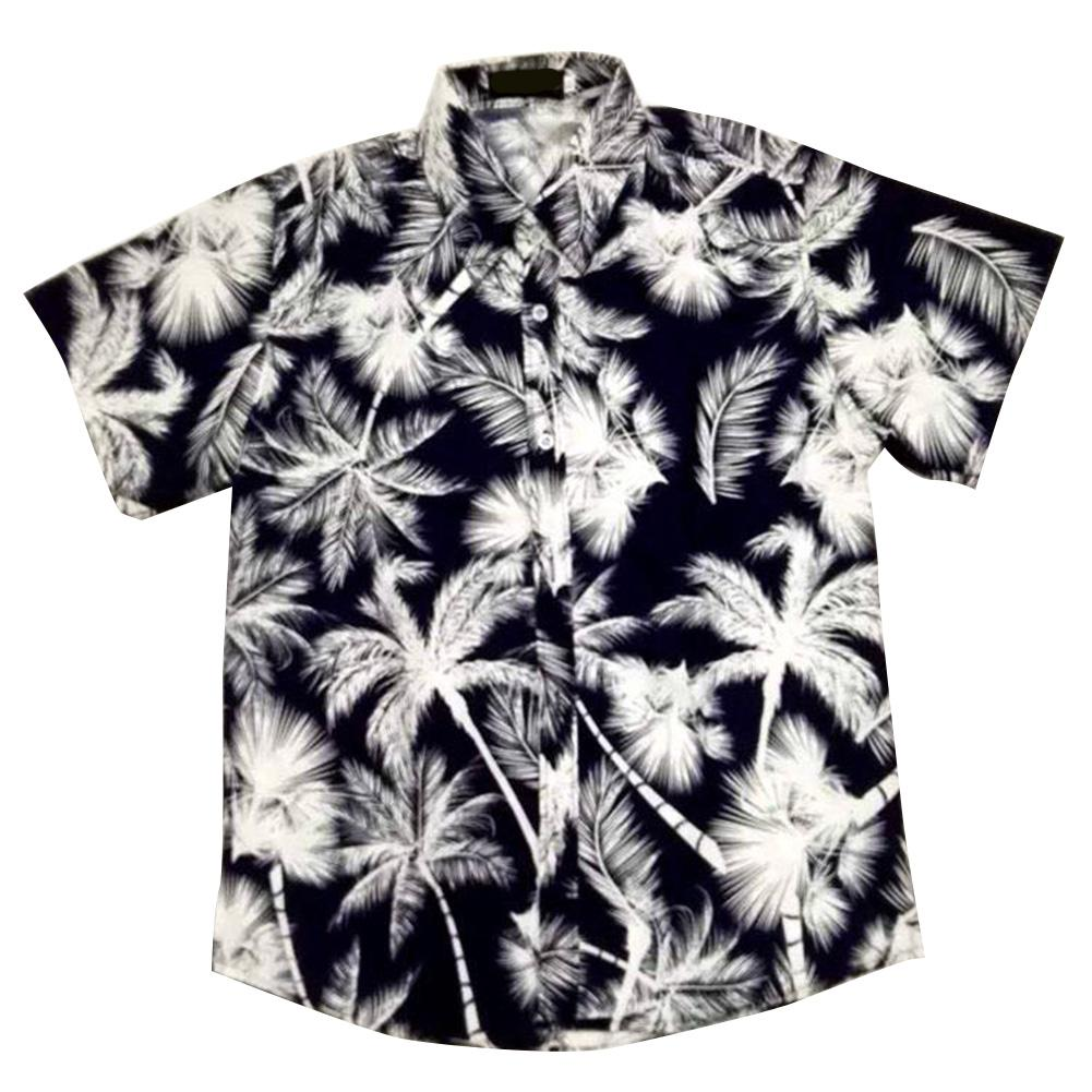 MISSKY 2019 New Men Short Sleeve Hawaiian Shirt Summer Style Men Casual Beach Hawaii Shirts Fit Slim Male Blouse Summer Top