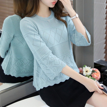 Spring Summer Women Casual O-neck 3/4 Sleeve Knitted Sweaters Hollow Out Pullovers Female Tricot Jumper Femme