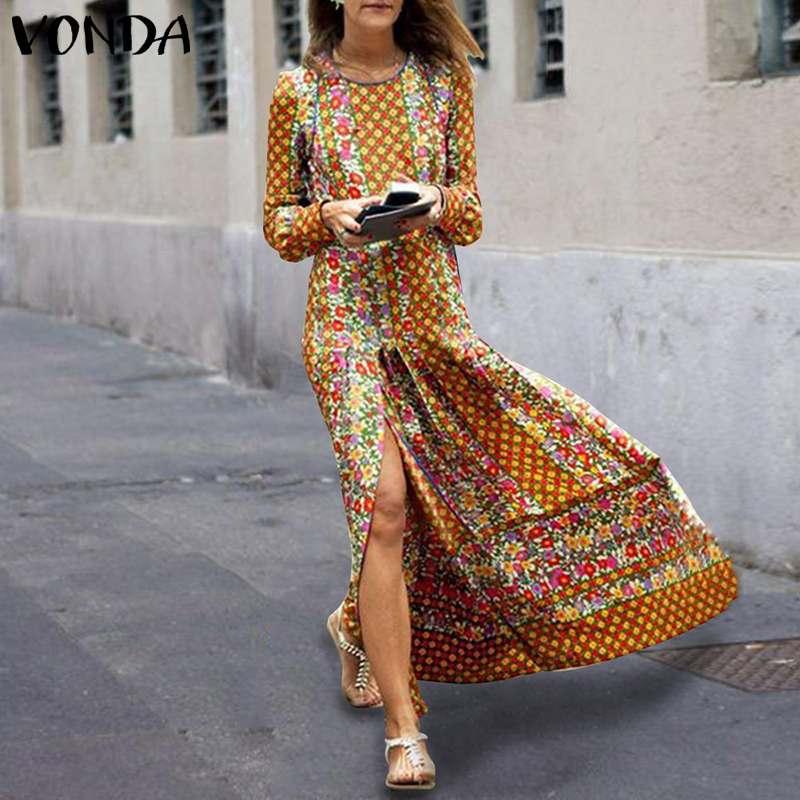 VONDA женское платье 2019 осень Винтаж принт длиной макси Вечерние свободное платье плюс Размеры пикантные Разделение Vestidos более Размеры d