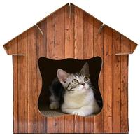 Simulated Wood Grain Cat House Corrugated Paper Cat Scratch Board Cat Shelter Pet Supplies