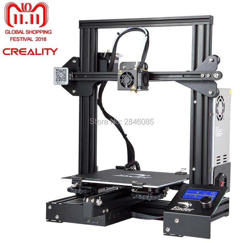 Pas cher 3D Imprimante Creality 3D Nouveau Ender-3 Grande Taille D'impression 220*220*250mm Métal 3D Imprimante DIY super Prusa i3 kit de Mise À Niveau