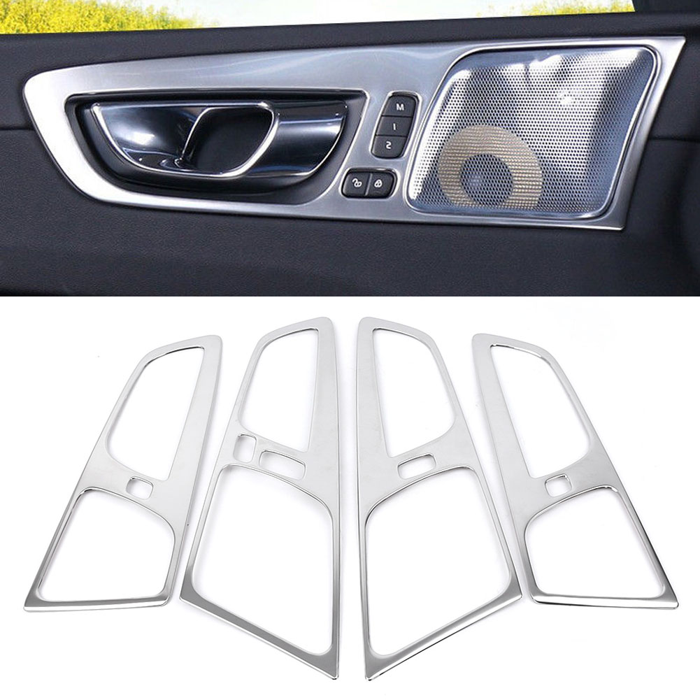 4pcs Interior Car Door handle Bowl Frame Protector Trim Decoration for <font><b>Volvo</b></font> <font><b>XC60</b></font> 2018 <font><b>2019</b></font> XC 60 Silver Steel Auto Car Styling image