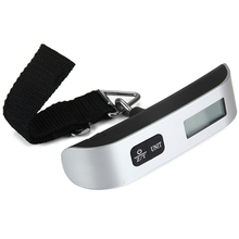 Portable Mini LCD Luggage Electronic Scale Thermometer 50kg Capacity Hanging Digital Weighing Hook Scale Device new portable milligram digital scale 30g x 0 001g electronic scale diamond jewelry pocket scale home kitchen