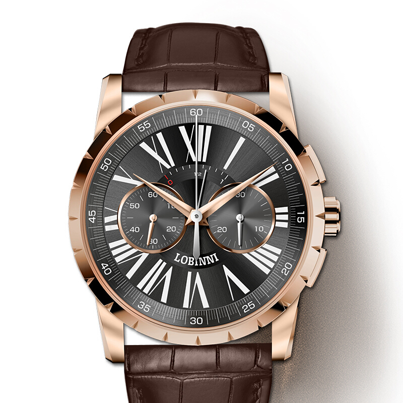 Switzerland LOBINNI Men Watches Luxury Brand Venus Chronograph Manual Mechanical Men s Clock Sapphire relogio masculino