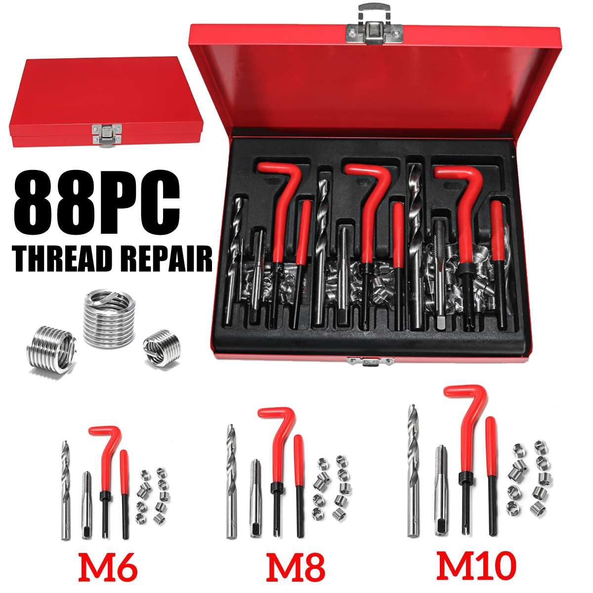 Nouveau 88 pièces M6 + M8 + M10 HSS Foret Ensemble Auto Bloc Moteur Restaurer Fil Endommagé Réparation Outil Trousse D'outils À Main
