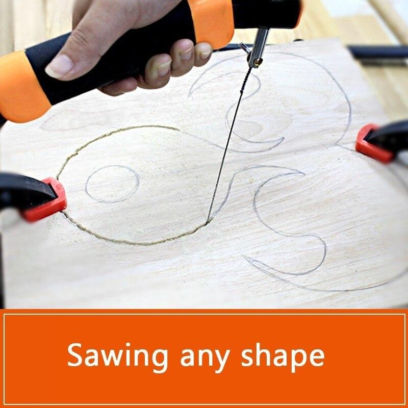 Купить с кэшбэком DIY Hand Small Saw Hacksaw Frame Set With 10pcs Spiral Steel Wire Blade Model Woodworking Wood Tool Hobby Tools Carpenter