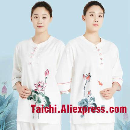 Linen Tai Chi Uniform Hand-painted Women  Short Sleeve Chinese Traditional Tai Chi Uniforms Kung Fu Clothing Martial Art  Wear
