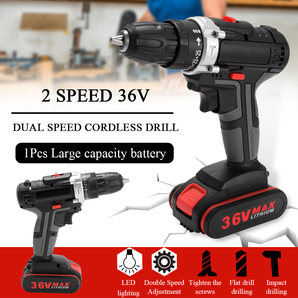 36V Max Electric Screwdriver Cordless Drill 1300mAh Lithium Battery Wireless Rechargeable Hand Drills DIY Electric Power