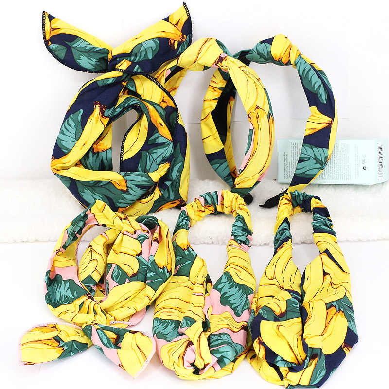 Wedding High Quality Beautiful Korean Elasticity Graceful Fruit And Banana Cross-band 6 Models Hair Band 1PC Exquesite Seaside