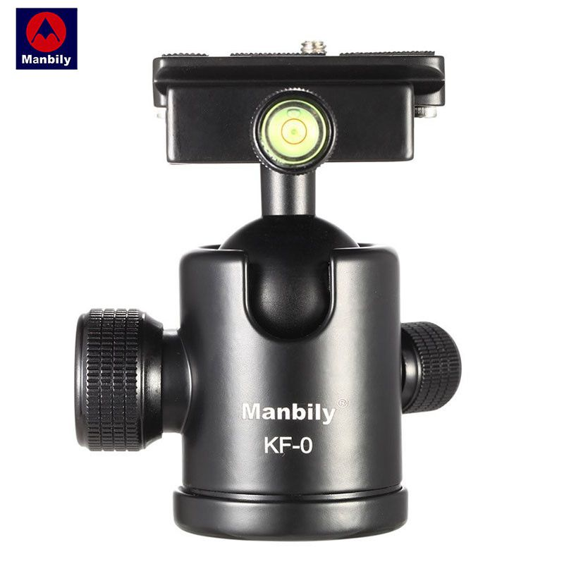 Manbily KF-0 Camera Tripod Ball Head Aluminum Alloy Ballhead Panoramic Head Sliding Rail Head with 2 Built-in Spirit Levels