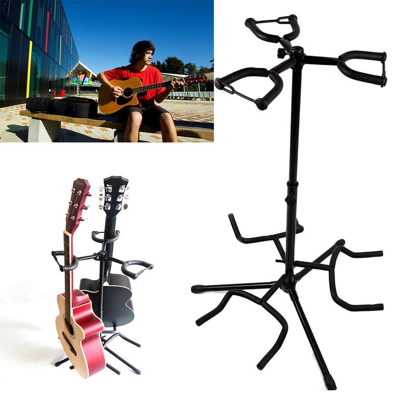 Retractable Frame Adjustable Tripod Guitar Stand Multi-speaker Stand For Three Electric Or Acoustic Guitars Leg Foldable #25