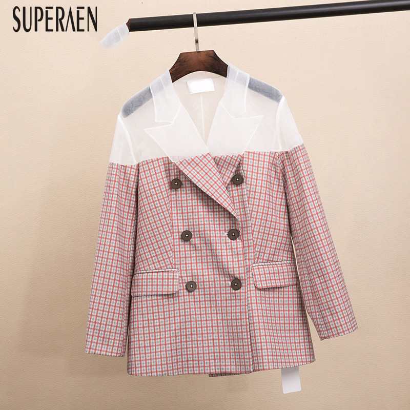 SuperAen Europe Fashion Women Suit Jacket 2019 Spring New Wild Casual Ladies Jacket Yarn Stitching Slim