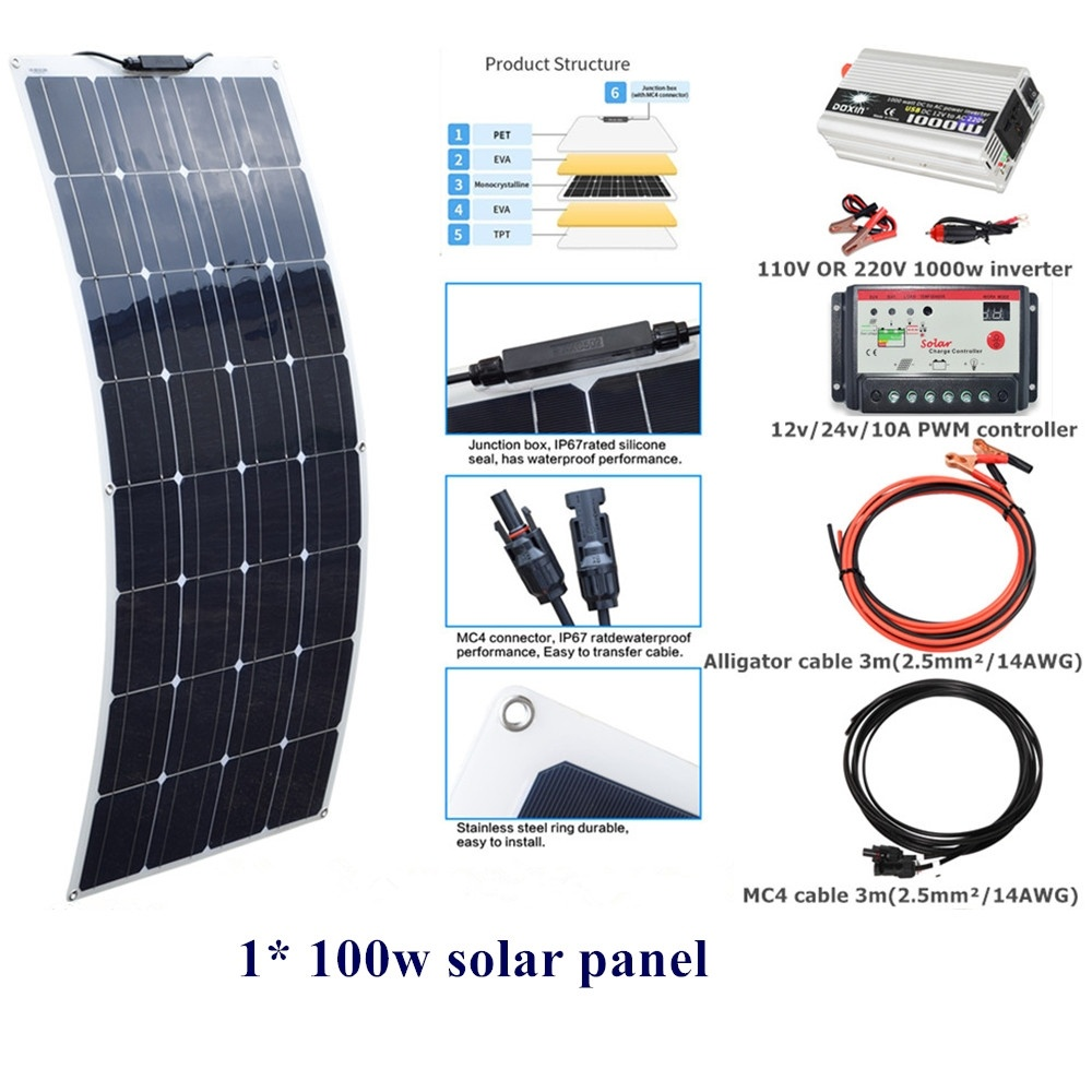 100 w Flexible panneau solaire Module Solaire Système Kit 10A contrôleur Régulateur 110 V OU 220 V 1000 w DC12V onduleur pour Extérieurs pour La Maison