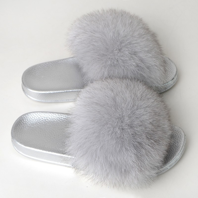 Fur Slippers Women Fox Furry Slides Fluffy Slippers Home Summer Shoes Woman Fur Flip Flops For Ladies Luxury Brand Size 39-41 1