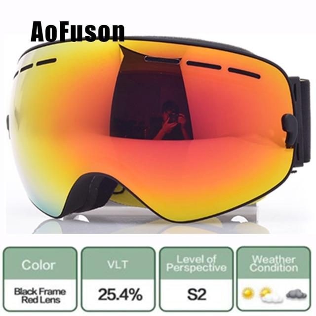 7c6435d6a87b Brand Ski Snowboard Goggles.Double Layers UV400 Anti-fog Big Spherical Mask  Glasses Skiing Men Women Big Vision Snow Eyewear Sci