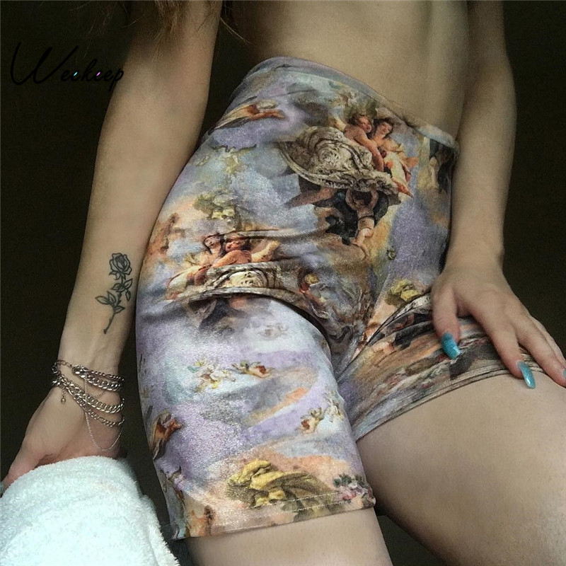 New Women Angel Print Shorts High Waist Streetwear Elastic Waist Shorts Women Summer Fashion Shorts