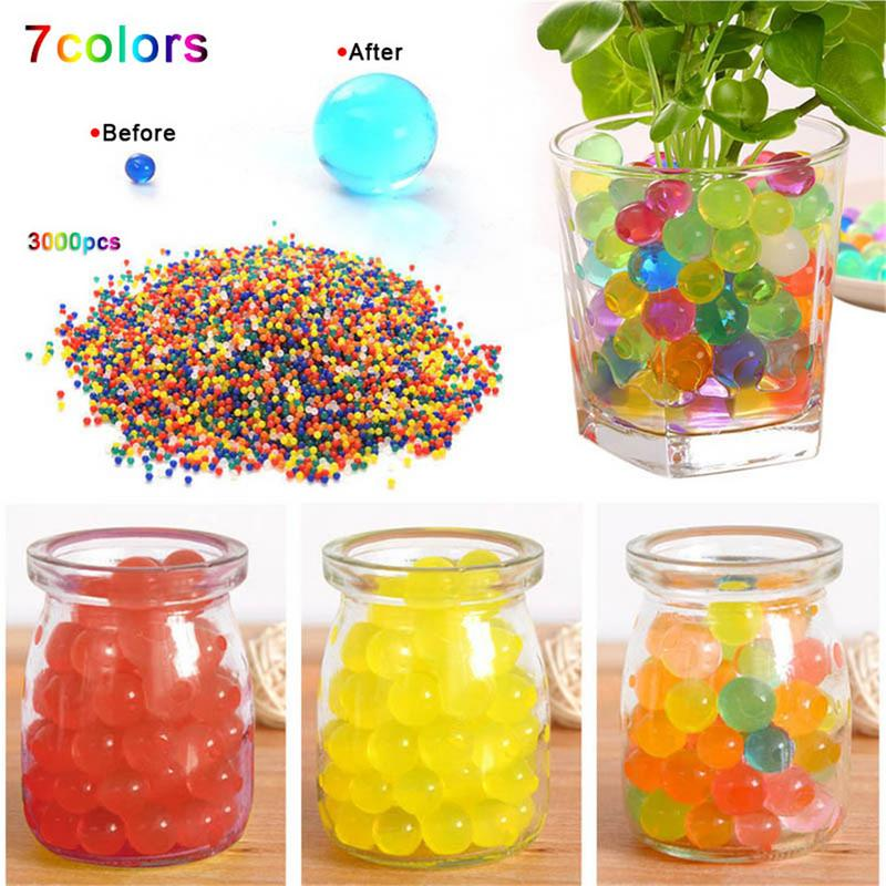 3000pcs/pack Colored Soft Crystal Water Paintball Bullets Growing Water Beads Home Decor Toy Garden Decoration
