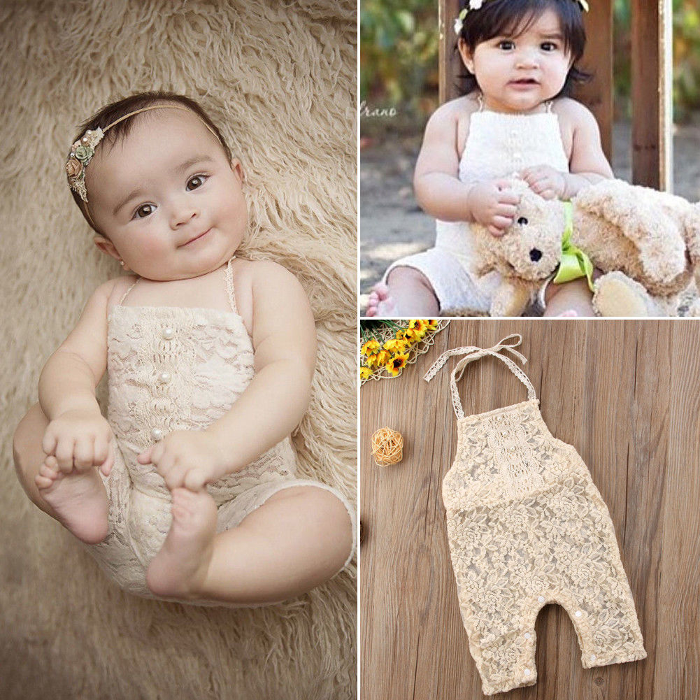Pudcoco Girl Jumpsuits 0-24M Newborn Adorable Toddler Baby Girls Lace Pearl   Romper   Jumpsuit Outfit Clothes