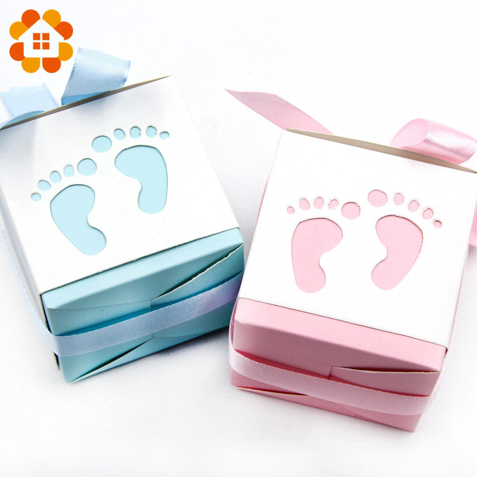 6pcs Lot Candy Gift Boxes Hollow Foot Cute DIY Paper Box Kids Birthday Decoration For Baby Shower Home Party Supplies