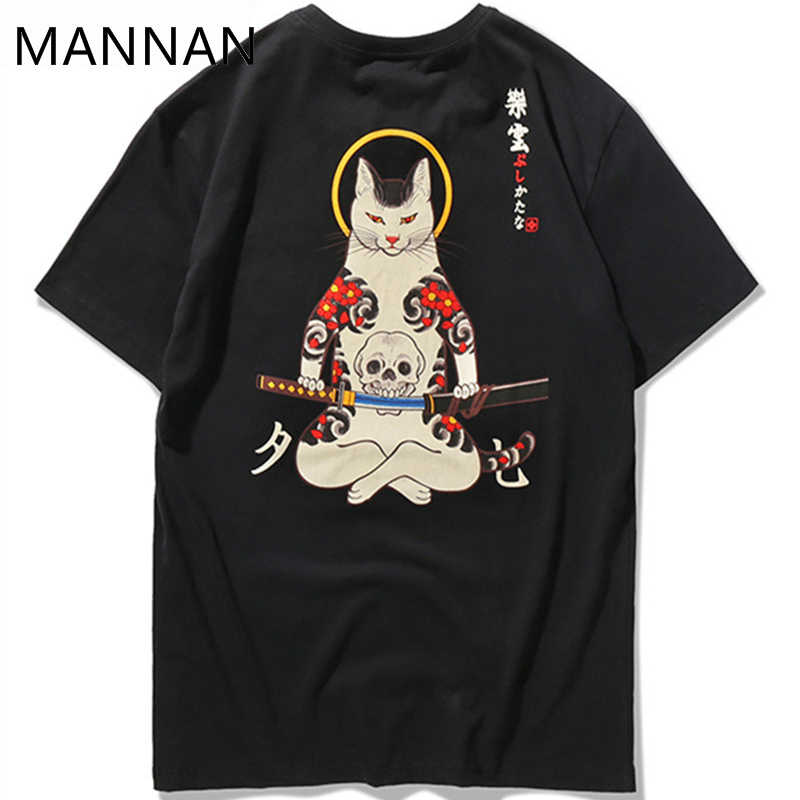MANNAN  2018 Streetwear Japan Style Ukiyo E Funny Samurai Cat TShirts Mens Short Sleeve T-shirts Hip Hop Embroidery Tees