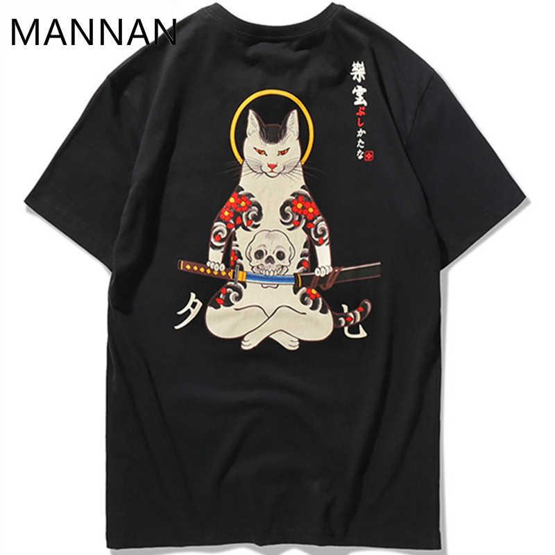 Маннан 2018 уличная Японии стиль укийо E забавные самурая футболки с котами мужские короткий рукав футболки хип хоп безрукавки с вышивкой