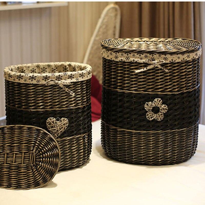 Panier de rangement en osier Vintage avec couvercle grand panier à linge pour vêtements décoratifs à la main en osier sale paniers à linge cadeaux