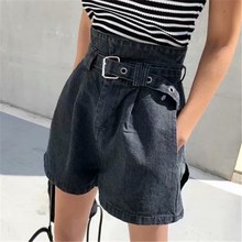 Summer Women High Waist Jeans Shorts Vintage Pockets Cotton Denim Hot Shorts Belted Sexy Female A Line Denim Shorts Streetwear o ring detail self belted shorts