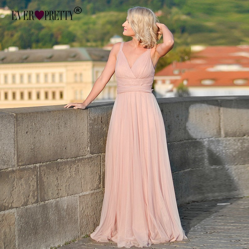New Elegant A Line V Neck Long Bridesmaid Dresses Vestido Dama Honor Ever Pretty Sexy Backless Wedding Guest Dress Party Gowns in Bridesmaid Dresses from Weddings Events