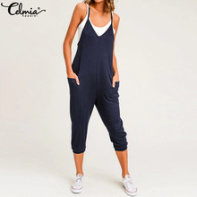 Celmia 2019 Summer Women Jumpsuits Sleeveless Sexy Spaghetti Strap Rompers  Casual Loose Harem Pants V- 197b60c8d1fb
