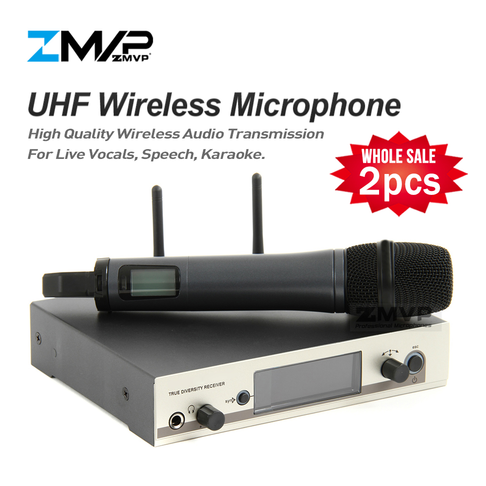 2pcs/lot Professional 335 G3 UHF Wireless Microphone Cordless System With Handheld Transmitter For Live Vocals Speech Karaoke zmvp p24 m58 uhf professional wireless microphone system with m58 handheld transmitter mic for stage live vocals karaoke speech