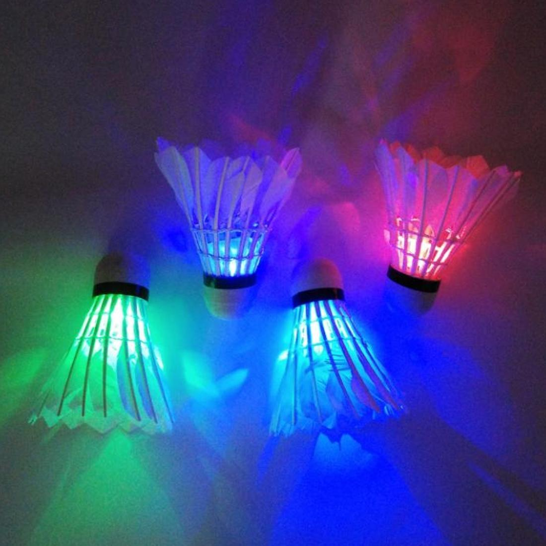 Practical 4 PCs Colorful LED Badminton Shuttlecock Ball Feather Glow In Night Outdoor Entertainment Sport Accessories }