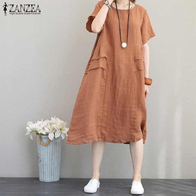 2020 de talla grande ZANZEA verano mujeres Casual sólido corto de manga Vintage de algodón de lino suelta partido Vestido corto de verano Vestido de mujer