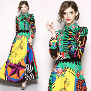 Image 3 - 2020 nowa wiosna moda kobiety odzież skręcić w dół kołnierz pełne rękawy wysoka talia długa sukienka kobieta w stylu Vintage Vestido Q303